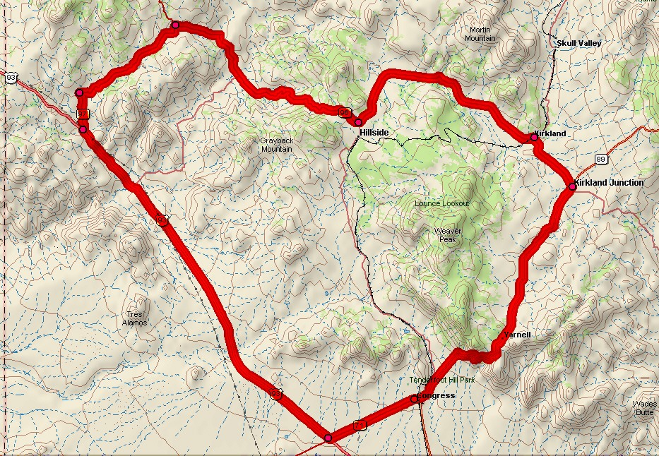 Heart of Arizona Century Ride Map